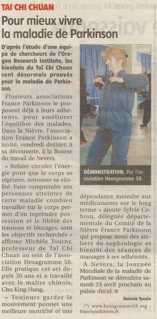 article du journal ducentre sur france parkinson